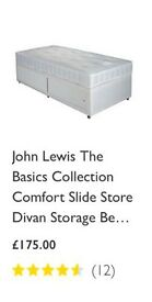Single Divan Bed .Base.John Lewis . Immaculate