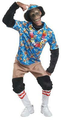 ADULT TOURIST CHIMP MONKEY MASK HAT SHIRT PANTS FULL COSTUME MR148277