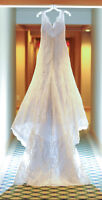 Allure Lace V Neck White Wedding Gown