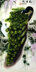 100% Chinese Watercolor Painting, 2 Peacocks and Flowers