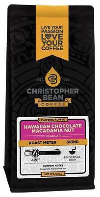 Christopher Bean Coffee HAWAIIAN CHOCOLATE MACADAMIA NUT Flavored Coffee 1-12Oz ()