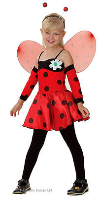 Girls Kids Lady Bird Ladybird Red Bug Dress Wings Headband Armlets Costume 3-5
