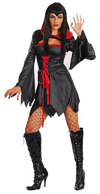 Sexy Ladies Halloween Costume Vampire Witch Fancy Dress Outfit 10-12 & 12-14 NEW