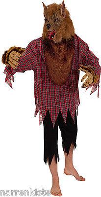 Wolf Wolfs Werwolf Kostüm Maske Hemd Werwolfmaske Werwolfkostüm Halloween braun (Wolf Halloween-kostüm)