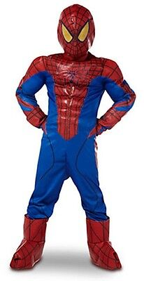 New Disney Spider Man Deluxe Costume 6 Pc Muscle Boys Halloween Dress Up Sz 2/3