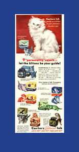 1946 half-page color ad for Carter's Ink with kittens