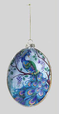 KURT S. ADLER GLASS PEACOCK DISK CHRISTMAS TREE ORNAMENT W/ GOLD GLITTER