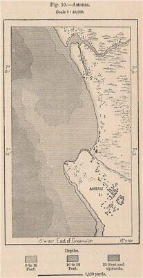 Ambriz. Angola 1885 old antique vintage map plan chart