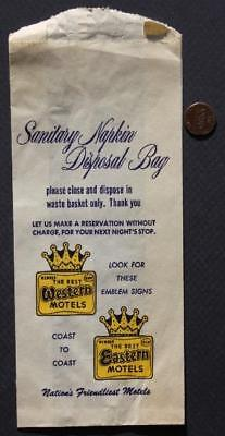 1950s Era Best Western-Best Eastern Motel Chain unused Sanitary Napkin wrapper!* (Napkin Wrappers)