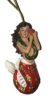 Hawaiian Christmas Ornaments Hula Girl Mermaid Poly Resin Hibiscus Lei Hawaii NB - Hawaiian Christmas Ornaments