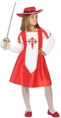 Girls Red Medieval Musketeer World Book Day Fancy Dress Costume Outfit 3-12 yrs](3 Musketeer Costume)