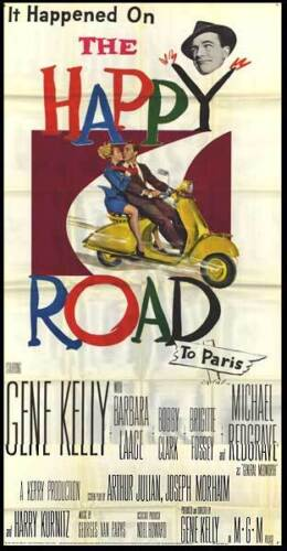 MOTOR SCOOTER/THE HAPPY ROAD original 1957 large 3-sheet movie poster GENE KELLY