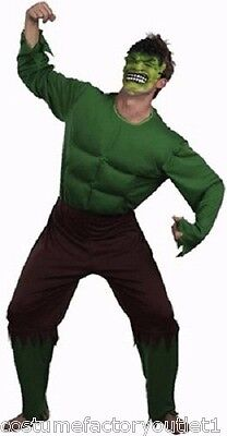 HT MENS Costume Fancy Dress Up Green Giant Monster Incredible Hulk sz S,M,L