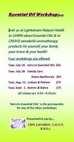 Essential Oil Workshops at Lightstream Natural Health
