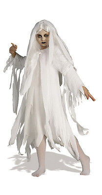 Scary Girls Costume (Girls Ghostly Spirit Costume Spooky Creepy Scary Ghost Child Size Large)