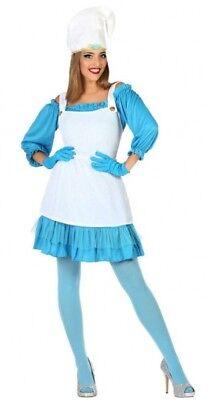Costume Donna PUFFETTA XL 44 Abito Adulto Nano Puffo Diavoletto Blu