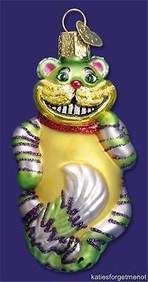 CHESHIRE CAT OLD WORLD CHRISTMAS GLASS ALICE IN WONDERLAND ORNAMENT NWT 12052