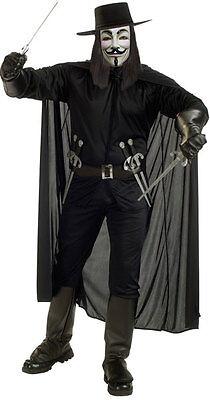 Mens V For Vendetta Halloween Film Comic Fancy Dress Costume Outfit STD & XL