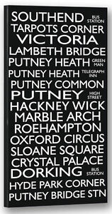 Southend Hackney Putney Destination Bus Blind Framed Canvas Print