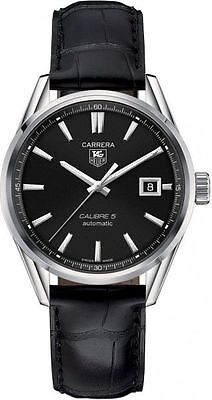 New Tag Heuer Carrera Automatic 39mm Black Leather Men's Watch WAR211A.FC6180
