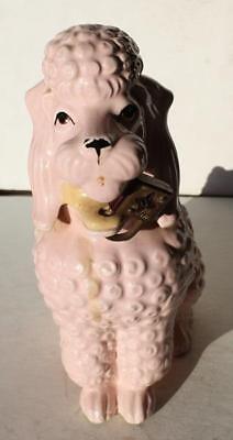 Poodle Figure Large Pink w-Padlock Coin Bank Ceramic-Porcelain Hand - Large Poodle Figure