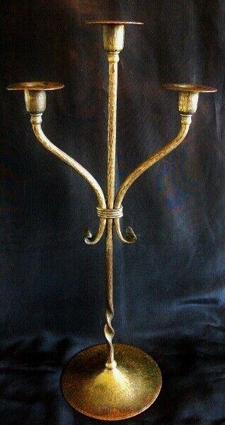 Roycroft Arts & Crafts Hand Hammered Copper Candelabra ca 1915.