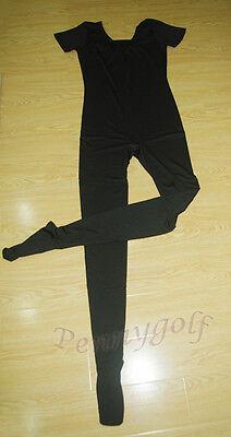 ballet&dance men/boy short-sleeve-foot leotard/unitard (black&white)