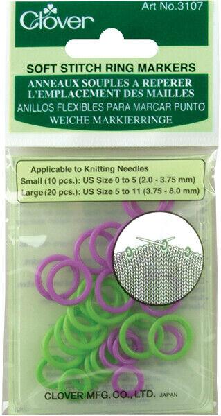 Clover-Soft Stitch Ring Markers-30/Pkg