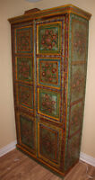 Large Hand Painted Cupboard Solid Wood Intricate Design