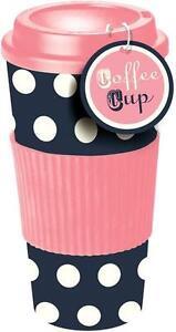 Pink & Blue Polka Dot Thermal Insulated Tea Coffee Mug Cup Travel Takeaway & Lid