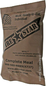 EMERGENCY MRE ARMY RATION SURVIVAL FOOD COMPLETE MEAL KITS WITH BUILT-IN HEATER - Brand New!!