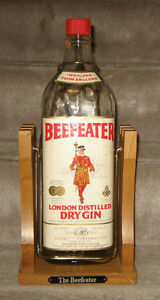 Vintage Empty Beefeater Dry Gin Bottle With Stand