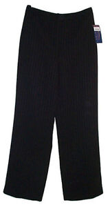 BLACK Pinstripe Lined Dress Career Pants - 2P - NEW