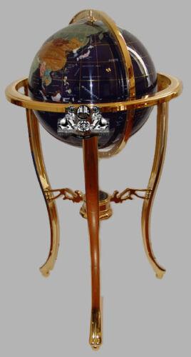 "36"" Tall Blue Lapis Gemstone World Globe with Tripod Gold Floor Stand w 50ST"