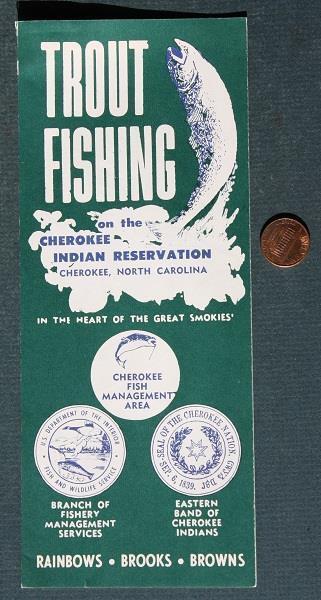 1950-60s Era Cherokee Indian Reservation North Carolina Trout Fishing brochure!