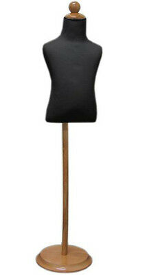 Mn-206 Black Toddler Child Dress Form Mannequin Adjustable Wood Stand Size 3t
