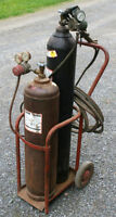 Oxy Acetylene Tank Set - 2 Hoses 2 Torches Several Gauges & Cart