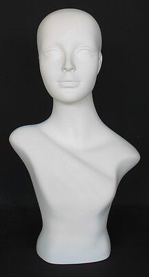 21.5 In Female Head Mannequin Bust Form Display Mannequin.matte White Mh2wt