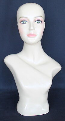21.5 In H Female Head Mannequin Bust Form Display Mannequin Skintone Finish Mh2f