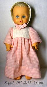 """VINTAGE Regal doll, wetting, vinyl, blue sleep eyes, blond, 16"""""""