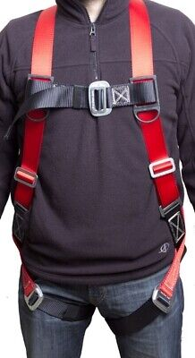 Fall Protection Construction Harness Shock Absorbing Light Weight Roofers - Red