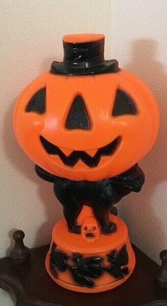 "Vintage 14"" Halloween Empire Light Up Blow Mold Pumpkin Black Cat Witches"