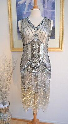 1920s Style Silver STARLIGHT Beaded Flapper Dress- S,M,L,XL or Plus sizes - Plus Size Beaded Flapper Dress