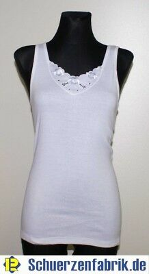 5 Stück Damen Unterhemd Achselhemd weiß große Spitze Stickerei