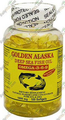 Golden Alaska Deep Sea Fish Oil Omega-3-6-9 1000mg 100 Softgels, DHA/EPA FRESH