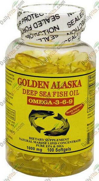 Golden Alaska Deep Sea Fish Oil Omega-3-6-9 1000mg 100 Softgels, DHA/EPA FRESH