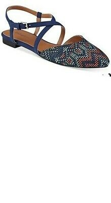 Indigo RD. Genetic 2 Point-Toe Flats Blue Multi, size 8.5