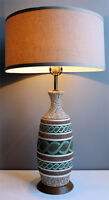 MID CENTURY MODERN AQUA TURQUOISE CERAMIC + TEAK TABLE LAMP