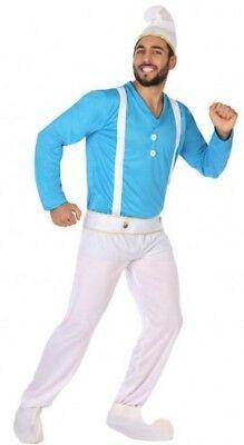 Costume Uomo Puffo M / L Abito Adulto Motivo Animato Nano Diavoletto Blu