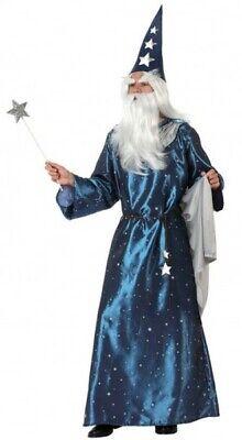 Kostüm Zauberer Herren Hexer Merlin Blau XL Erwachsene Mage Folie Neu Billig